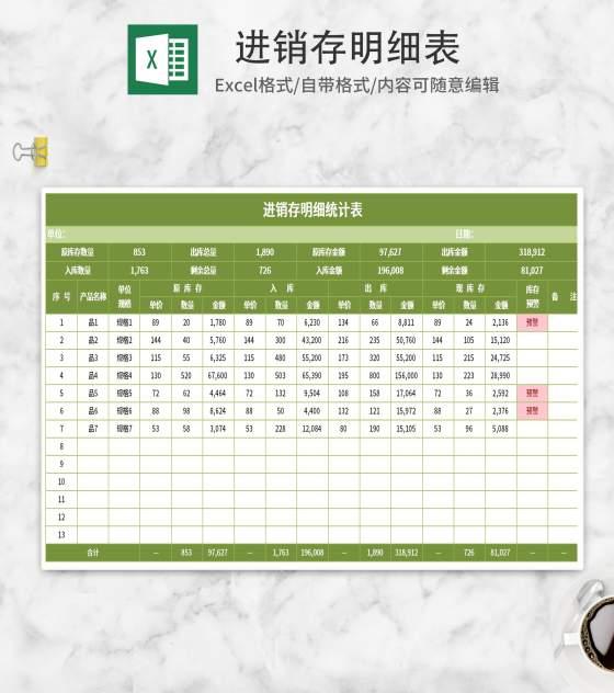 小清新绿色进销存明细表Excel模板