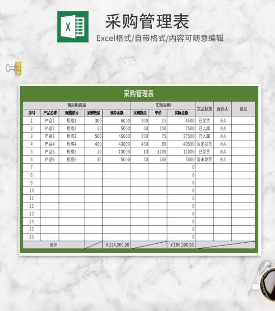 绿色采购管理表Excel模板