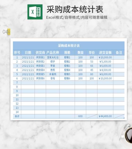 简约蓝色采购成本统计表Excel模板