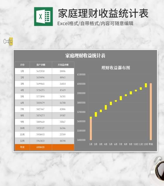 灰色家庭理财收益统计表Excel模板