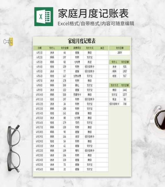简约绿色家庭月度记账表Excel模板