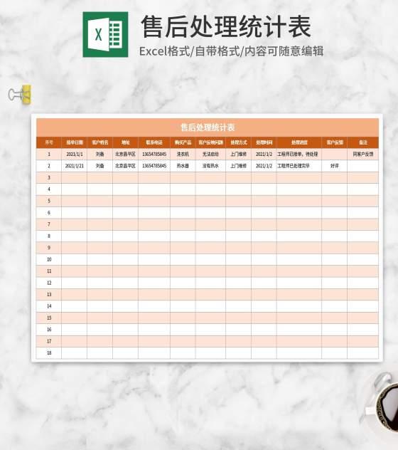 简约橙色售后处理统计表Excel模板