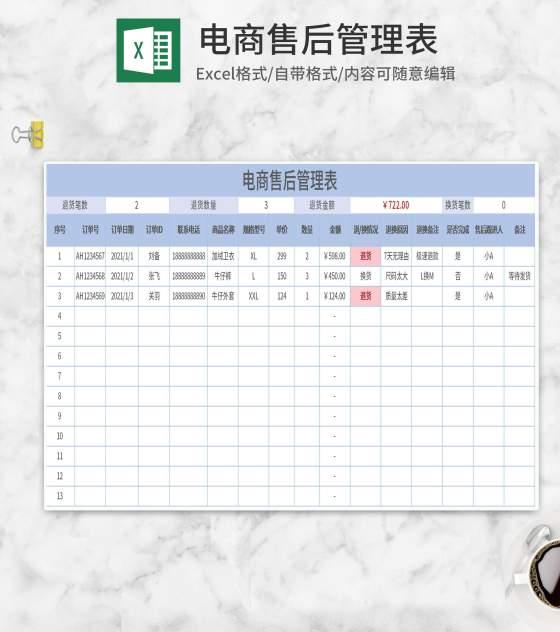 简约蓝色电商售后管理表Excel模板