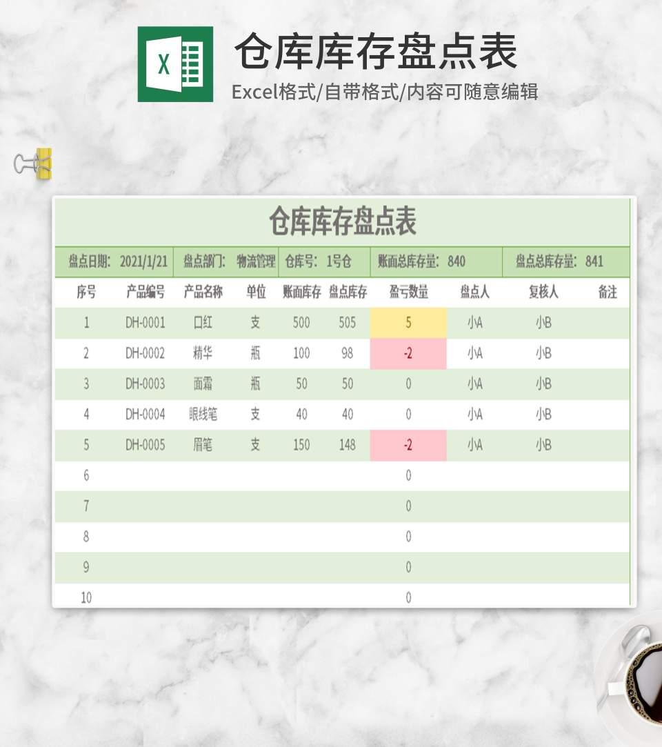 绿色仓库库存盘点表Excel模板