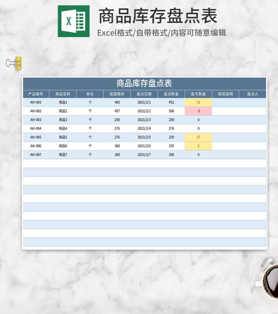 蓝色商品库存盘点表Excel模板