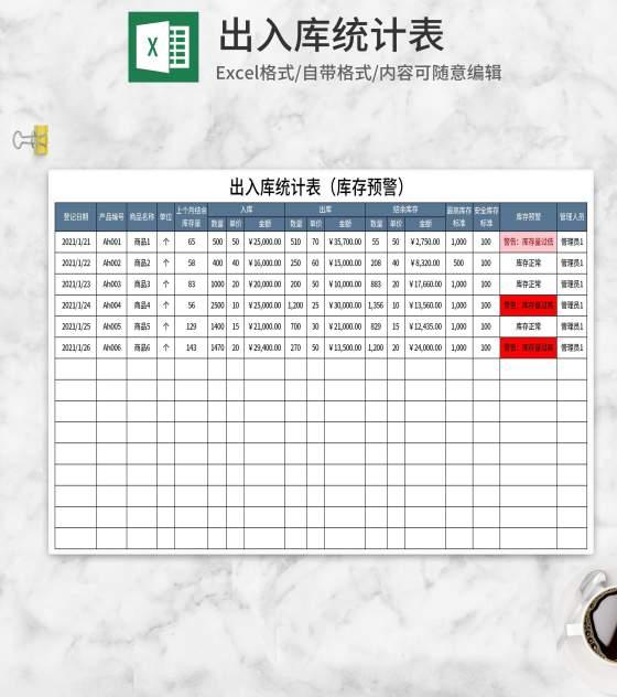 出入库统计表Excel模板
