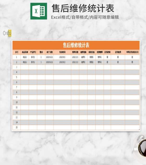 简约橙色售后维修统计表Excel模板