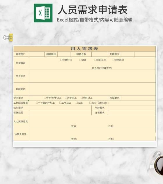 黄色企业用人需求申请表Excel模板