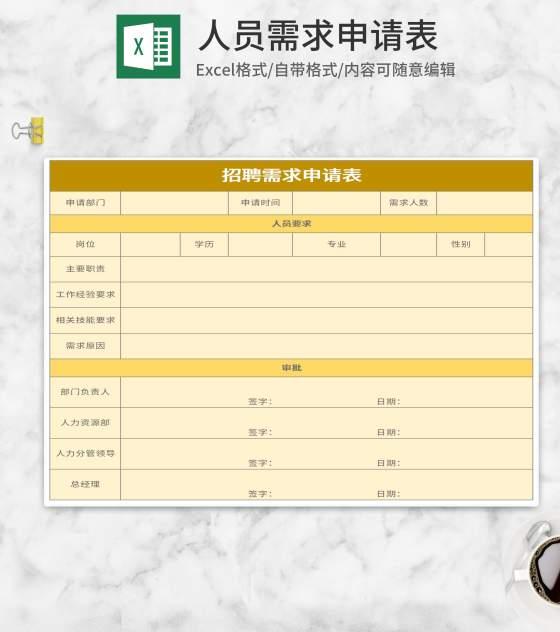简约黄色公司人员需求申请表Excel模板