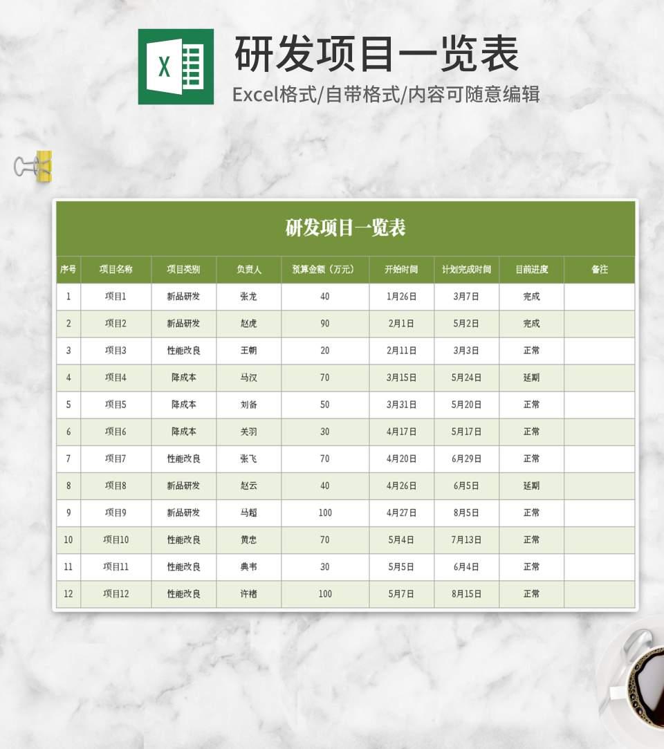 绿色研发项目一览表Excel模板