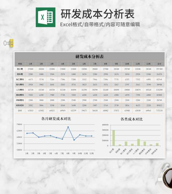 灰色研发成本分析表Excel模板