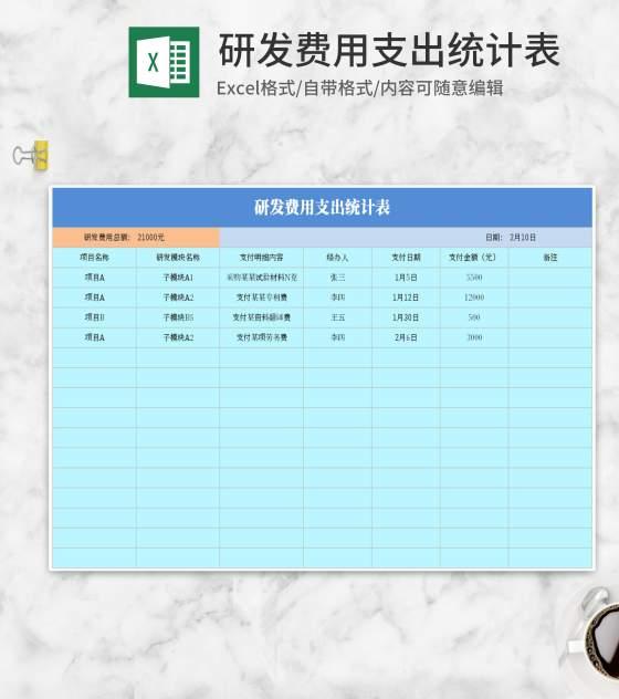 蓝色研发费用支出统计表Excel模板