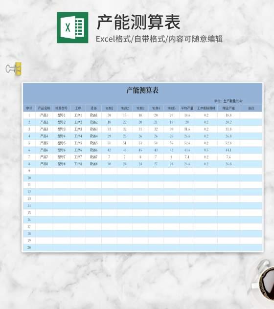 蓝色产能测算表Excel模板