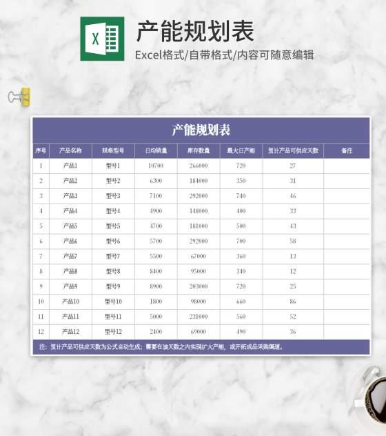 紫色产能规划表Excel模板
