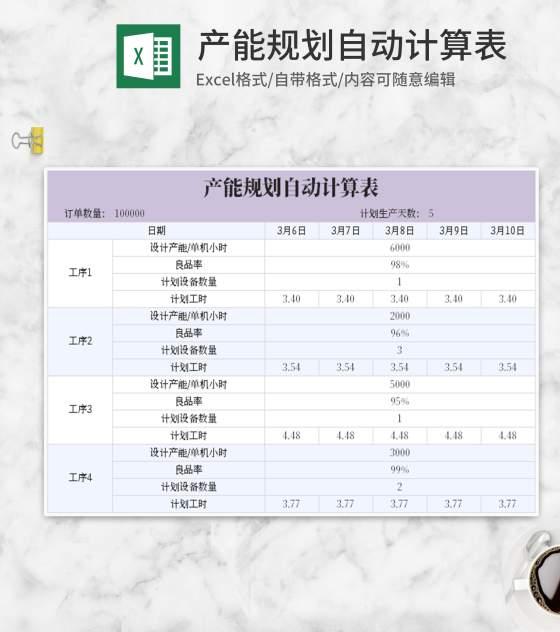 紫色产能规划自动计算表Excel模板