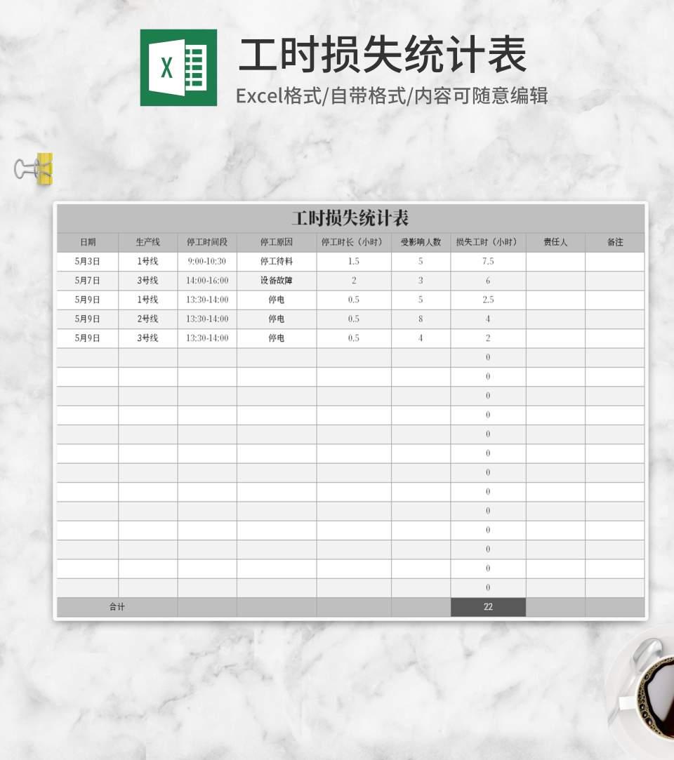 灰色工时损失统计表Excel模板