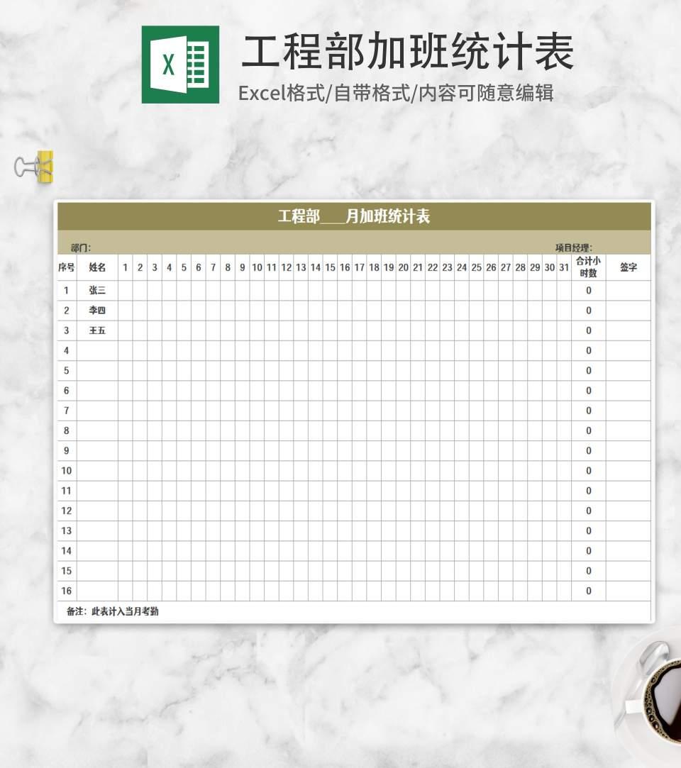 公司部门加班统计表Excel模板