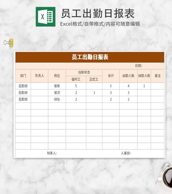 员工出勤日报表Excel模板