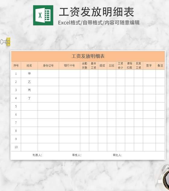 黄色工资发放明细表Excel模板
