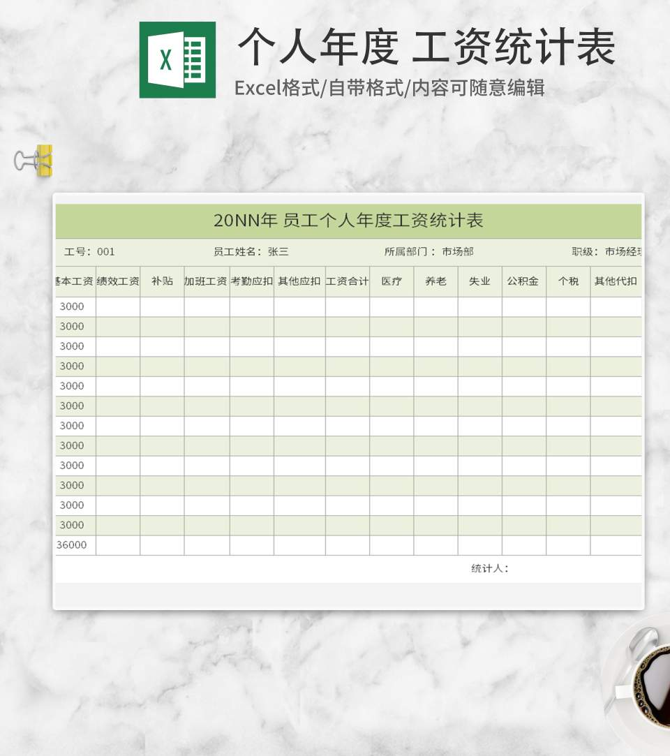 绿色员工个人年度工资统计表Excel模板