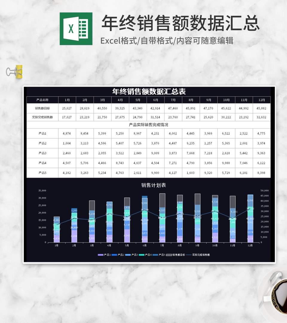 黑色年终销售额数据汇总Excel模板