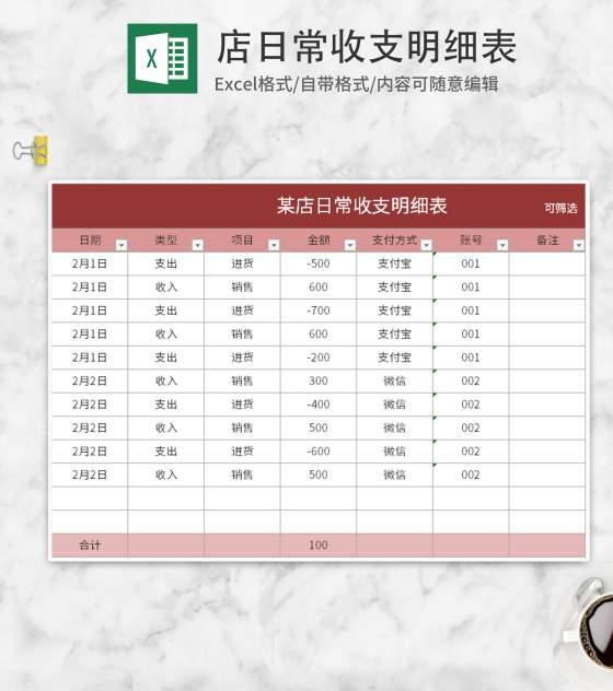 红色店铺日常收支明细表Excel模板