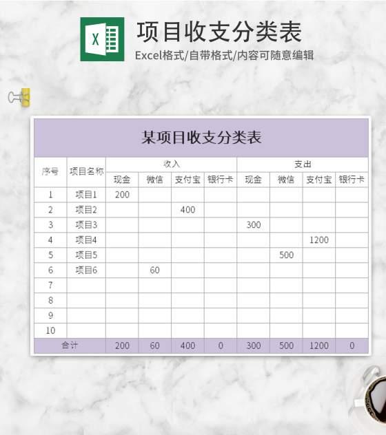 紫色项目收支分类表Excel模板