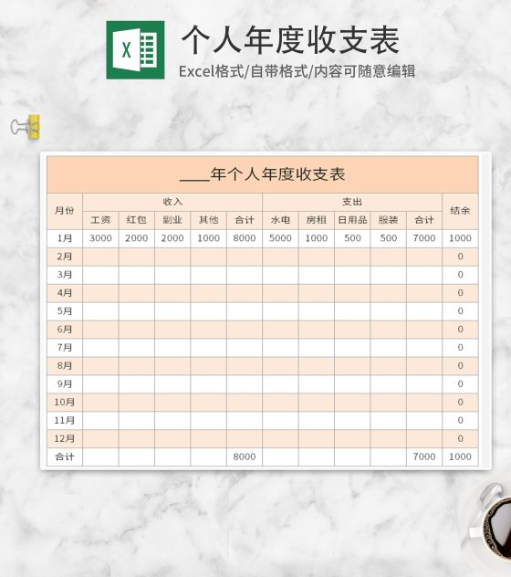 黄色个人年度收支表Excel模板