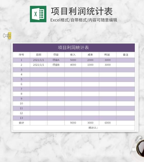 紫色项目利润统计表Excel模板