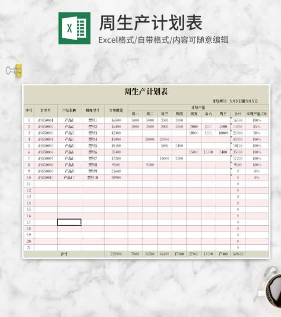 车间周生产计划表Excel模板