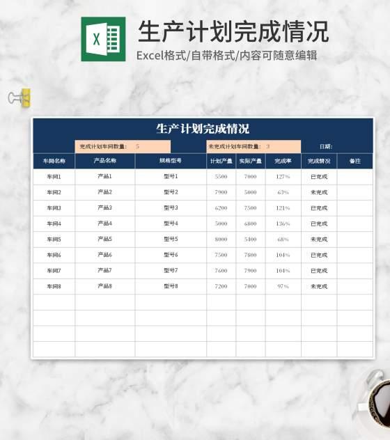 蓝色生产计划完成情况Excel模板