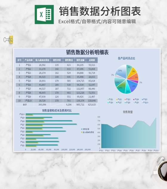 蓝色销售数据分析图表Excel模板