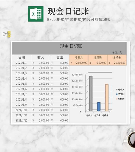 灰色现金日记账Excel模板