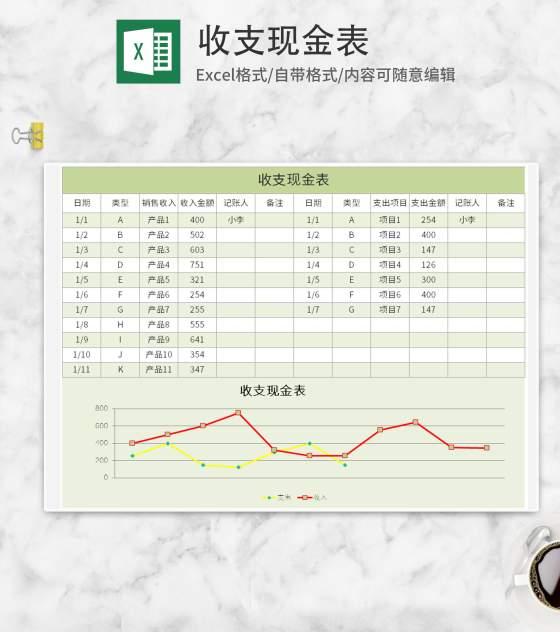 绿色收支现金表Excel模板