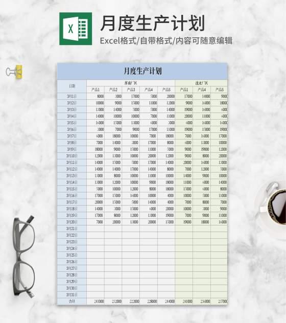 蓝色月度生产计划Excel模板