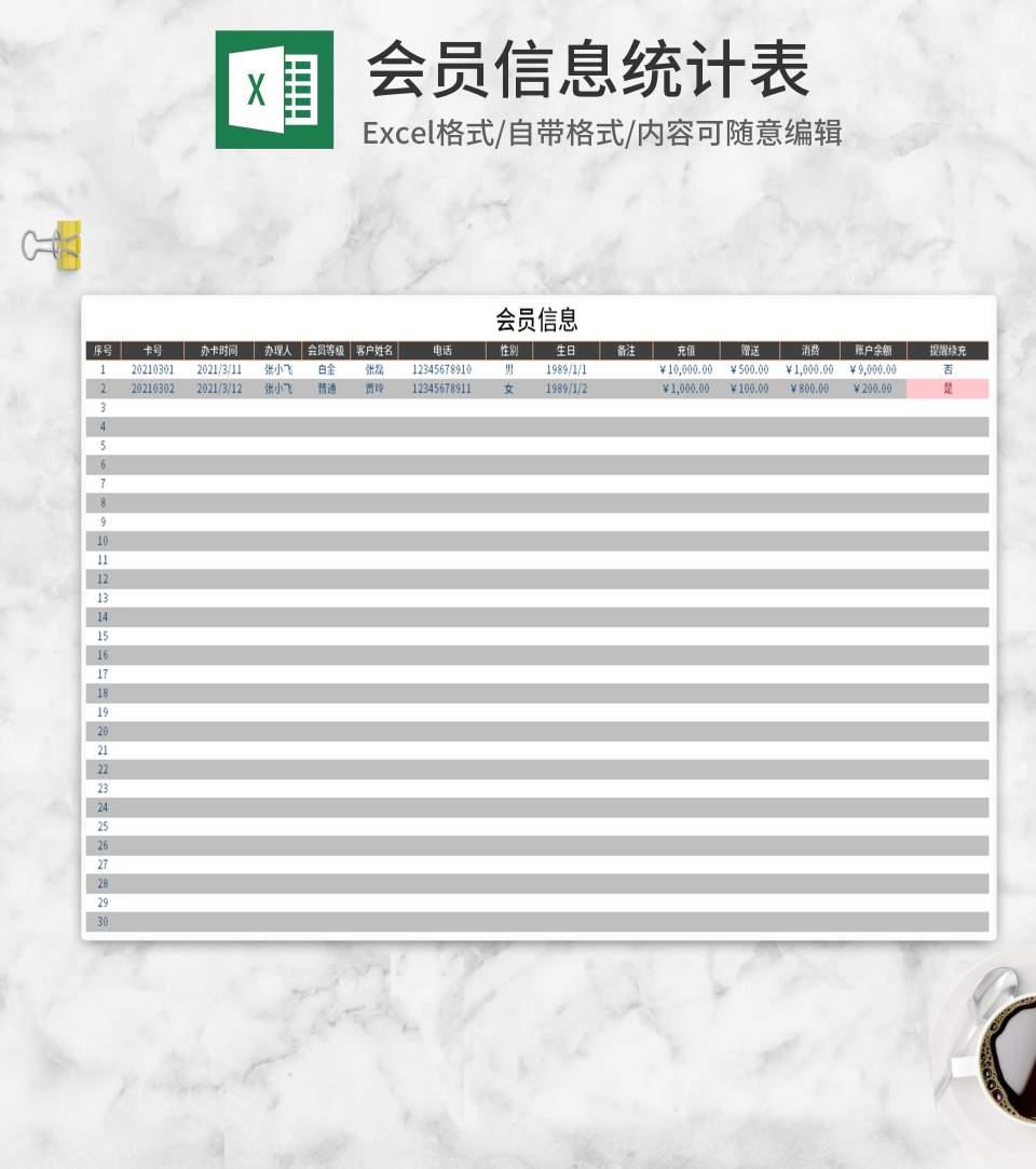 简约会员信息统计表Excel模板