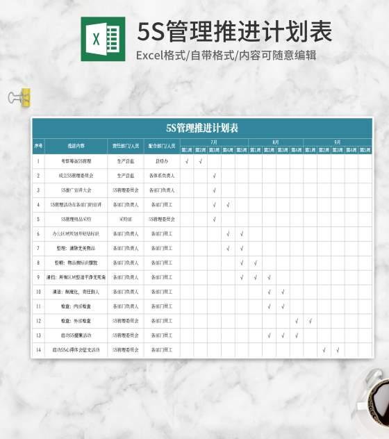 5s管理推进计划表Excel模板