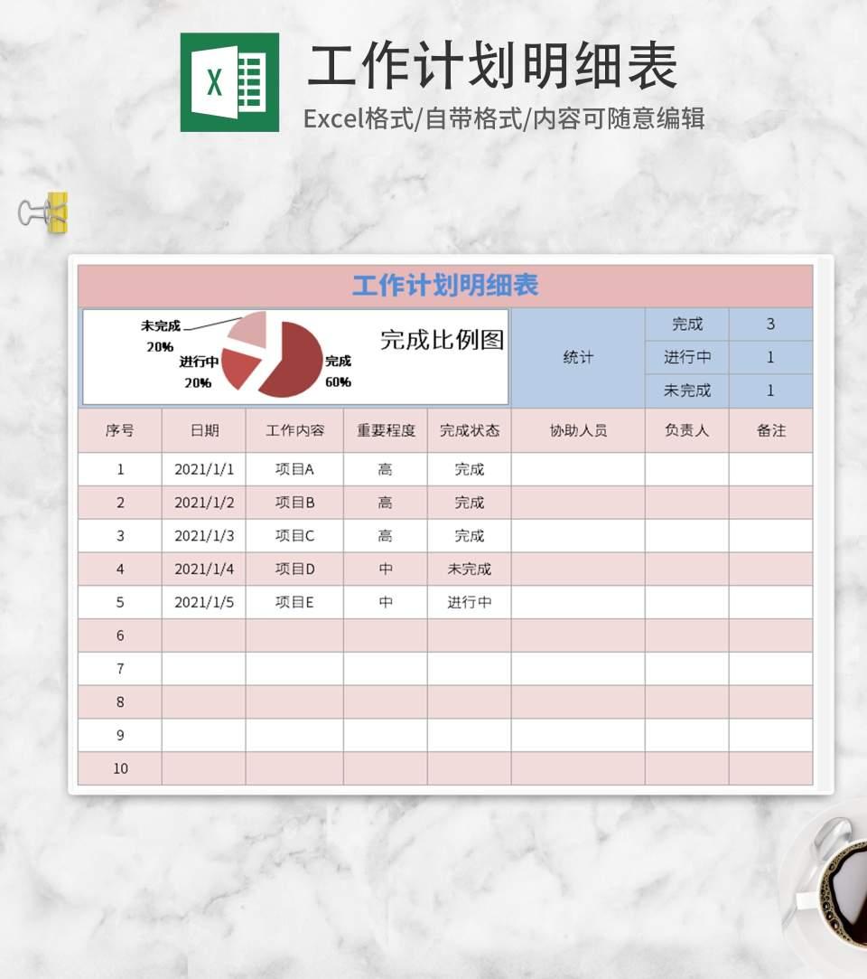 粉色工作计划明细表Excel模板