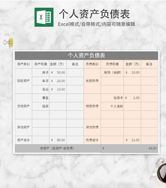 个人资产负债表Excel模板