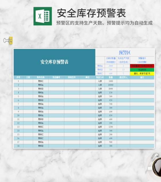 安全库存预警表Excel模板