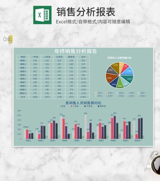 青色销售分析报表Excel模板
