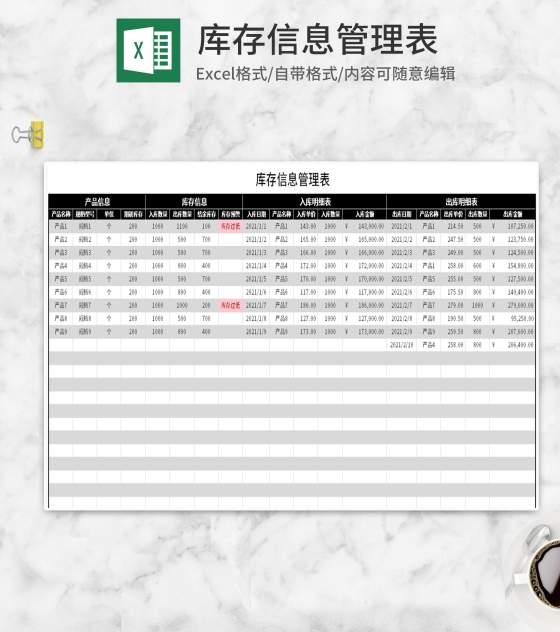 黑色库存信息管理表Excel模板