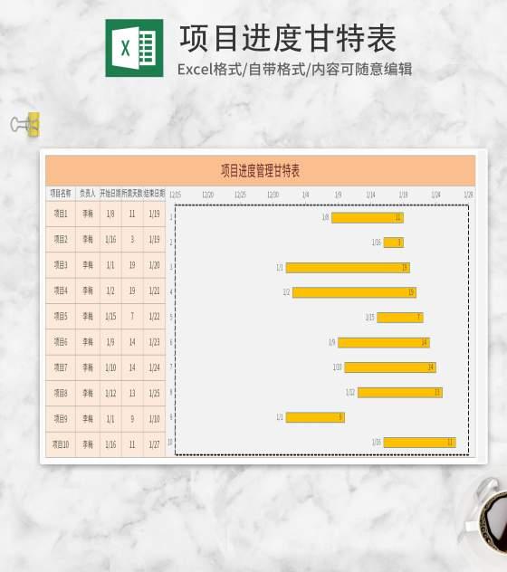 黄色项目进度甘特表Excel模板