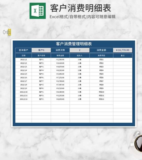 深蓝客户消费明细表Excel模板