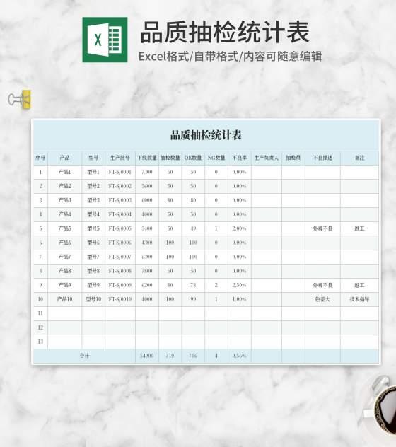 蓝色品质抽检统计表Excel模板