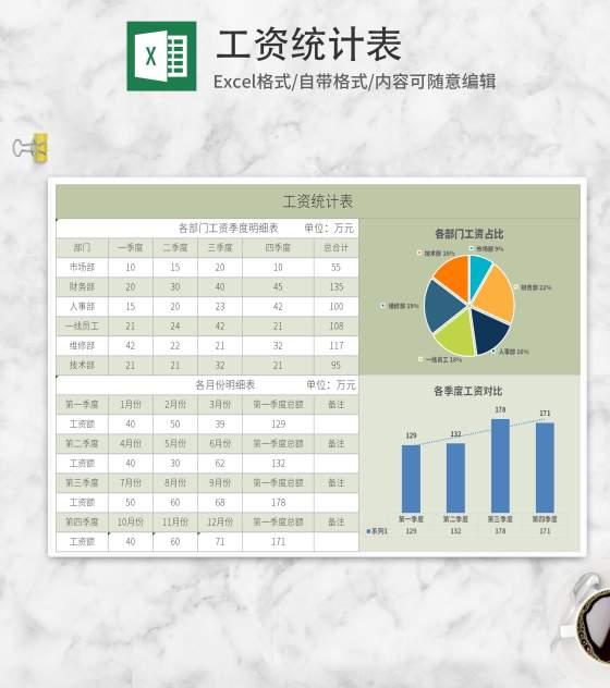 绿色工资统计表Excel模板