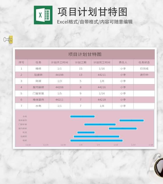 粉色项目计划甘特表Excel模板