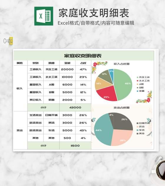 简约家庭收支明细表Excel模板