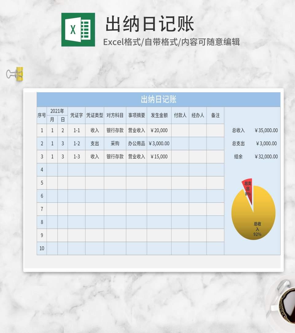 蓝色出纳日记账Excel模板