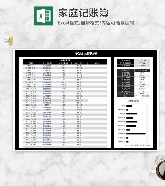 黑色家庭记账明细表Excel模板